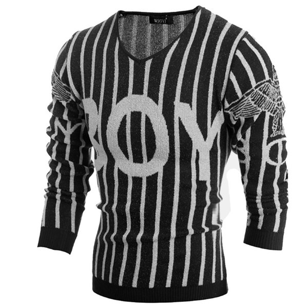 Classic Mens Striped Sweater Pattern Letter V-Neck Casual Mens Jumpers Sweater Male Pullover Designer Mens Knitted Sweaters Black M-2XL