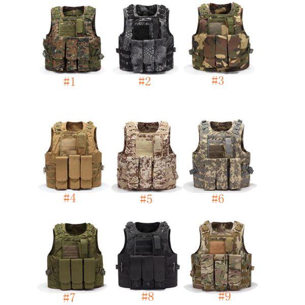 Airsoft Tactical Vest Molle Combat Assault Plate Carrier Tactical Vest 9 Colori CS Outdoor Abbigliamento Caccia Gilet ZZA661
