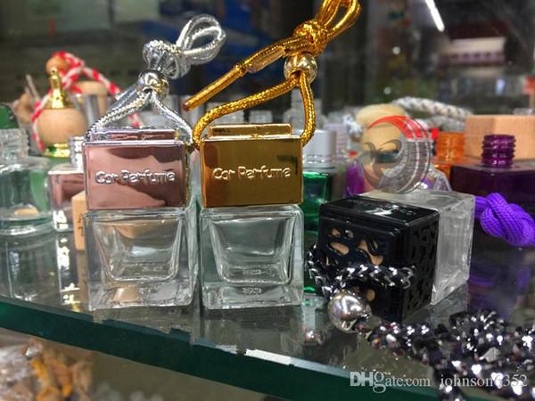 best selling Fashion Auto Car Perfume Essential Oil Perfume empty bottles Original Shape square Car Air Freshener Hang Rope Pendant Diffuser Bottles