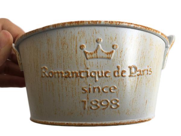 D14 * H6.5CM (D5.5XH2.6inch) Sembradora de estaño Nostalgia Cucharas galvanizadas Suculentas Olla Romancique de París desde 1898