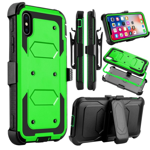 Full Body Protection Defender Holster Belt Clip Case for iphone 6 6s 7 8 Plus X Xs Max XR Cover Built-in Screen Protector