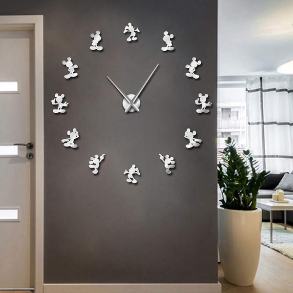 1Piece Design DIY Giant Wall Clock Cartoon Kid Room Decor Frameless Large Wall Watch 3D Mirror Effect Comics Sticker