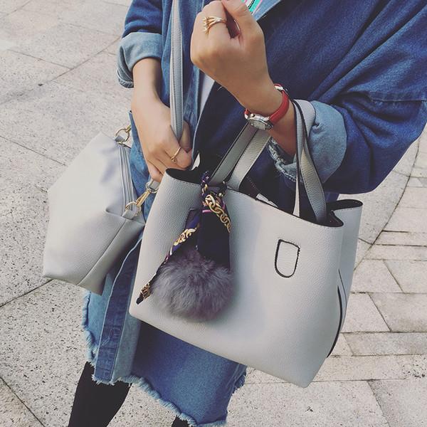 LAN LOU Fashion PU Leather Ladies Handbags Larger Women's Bag Hair Ball Shoulder Bag Messenger Crossbody Bag for Women