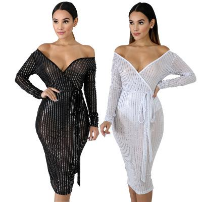Free Ship Women Sexy Deep V-Neck Sequins Sheer Dress High Waist Bodycon Mid Calf Dresses Club Wear