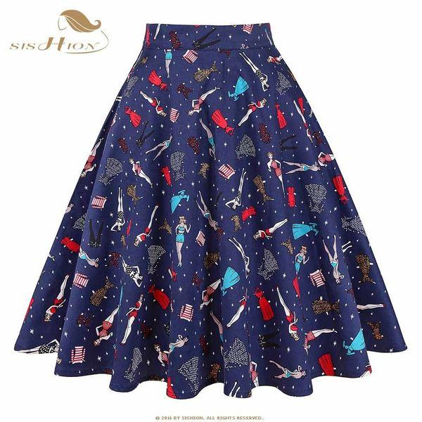 Sishion Black Skirt Women High Waist Plus Size Floral Print Polka Dot Ladies Plaid Skater 50s Swing Vintage Skirts Womens C19041601
