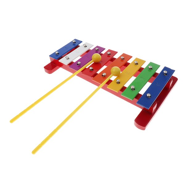 top popular 8 Tones Hand-held Xylophone Glockenspiel with Mallets for Kids Musical Instrument Toy 2021