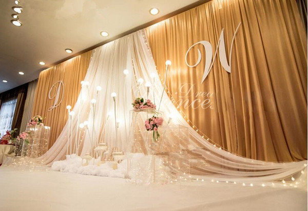 3*6m Wedding Party Stage Celebration Background Satin Curtain Drape Pillar Ceiling Backdrop Marriage decoration Veil