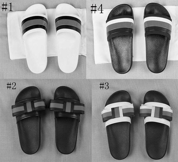 Yüksek Kaliteli Lüks Marka Tasarımcı Terlik Erkek Kadın Yaz Kauçuk Sandalet Plaj Slayt Moda Scuffs Terlik Kapalı Ayakkabı Boyutu 35-45