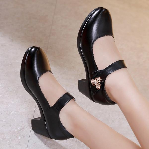 15cm Kaba Ile Elli Yaşlarında Ile Mükemmel Mükemmel Cheongsam Tek Ayakkabı Kare Ayakkabı Kodunu Kodlayacak 40-43 Kod bayan Ayakkabıları