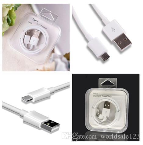 Crystal box Micro USB Cable 2.4A Fast Charge USB Phone Data Cable for Android USB Charging Cord Type C type-c Charger Cable For Samsung S10