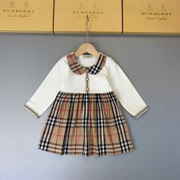 de motif robe Babys enfants de style pastoral Jupe Habit Printemps Automne Fonds Lattice pur coton fille robes à manches longues