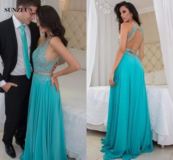 Compre Apliques Ilusión Blusa Con Cuentas Vestidos De Baile Azul Turquesa Vestidos De Fiesta Sin Espalda Sexy Mujeres Gasa Vestido Jurk Gala A 15277