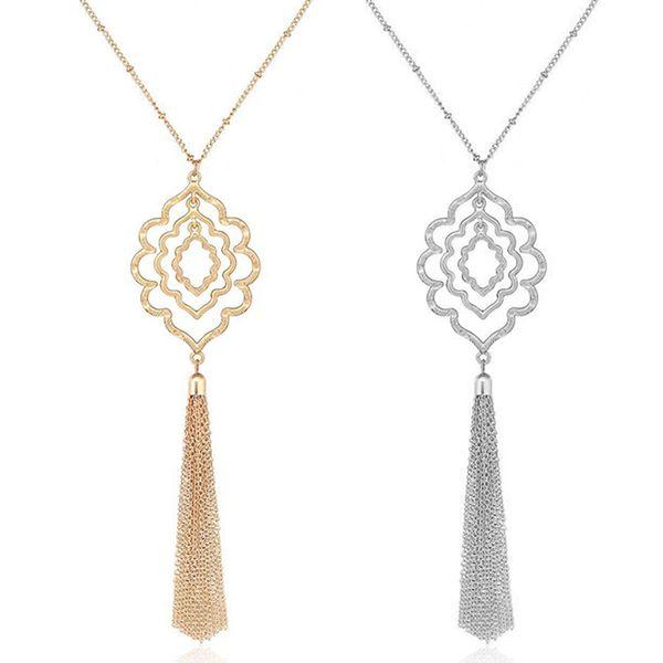 Nouvelle arrivée creuse Fleur Pendentif Collier Vintage Fashion Tassel chaîne chandail long hiver Collier Drop Shipping