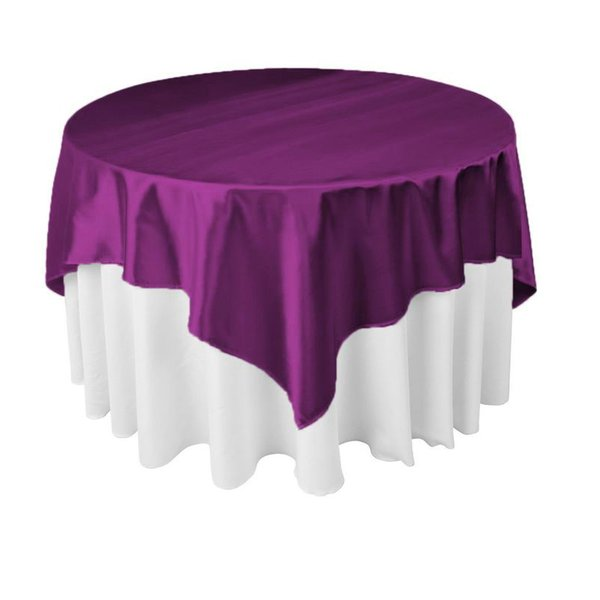 Tablecloths Placemats 145cm X 145cm Square Satin Tablecloth Table Cover  21Colors For Wedding Party Restaurant Banquet
