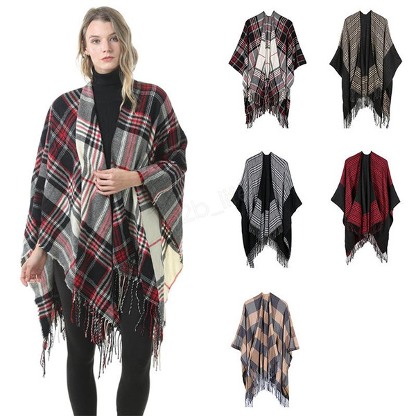 Women Wool Scarf Cardigan 130*150cm Patchwork Plaid Poncho Cape Tassel Winter Warm Blanket Cloak Wrap Shawl Pashmina A-A-LJJA2983
