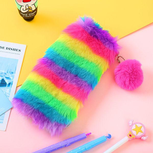 Rainbow Cosmetic Bags Fur Makeup Bag Laser Women Make Up Bags Evening Party Clutch Bag Plush Wallet 2 Designs