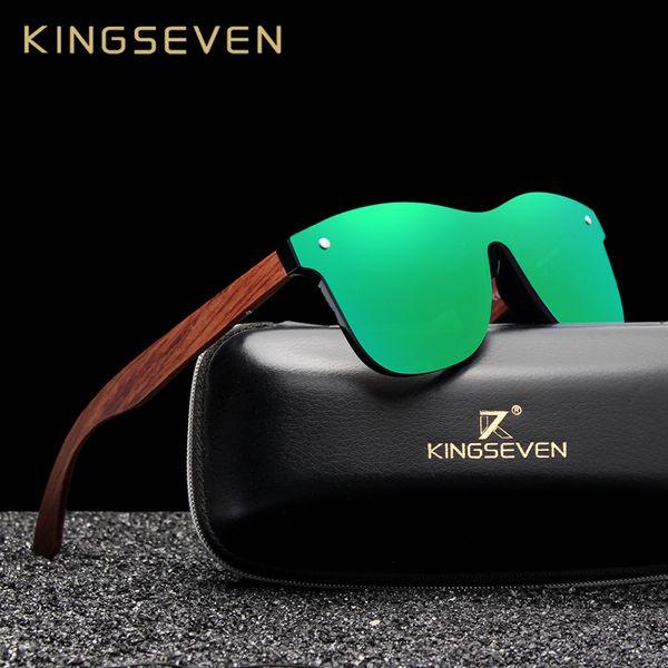 Kingseven Bubinga Wooden Men's Sunglasses Women Polarized Retro Rimless Green Mirror Lens Sun Glasses Handmade Driving Eyewear Y19052001