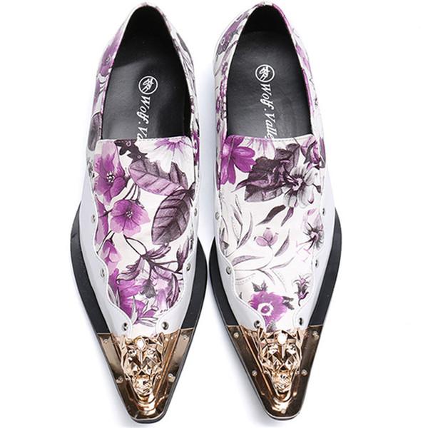 HAUTE qualité en cuir formel formel chaussures étape coiffeur styliste en fer orteil imprimé floral Messieurs robe chaussures