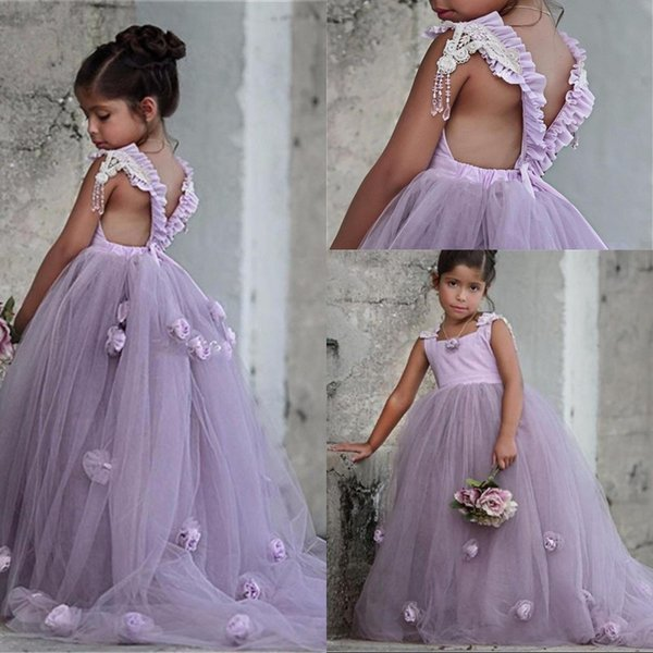 New Flower Girl Dresses Lavender First Communion Gowns For Girls Ball Gown Cloud Beaded Pageant Gowns Vestido De Daminha