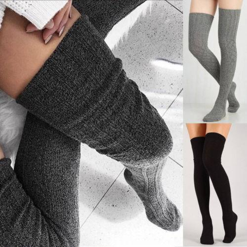 New Women Girls Cable Knit Long Boot Socks Over Knee Tights Thigh High Warm Stockings