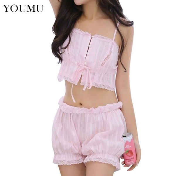 Lolita Camisole Shorts Set Japanese Cute Pajama Set Cotton Lace Sleepwear Women Girl Sexy Underwear Nightgowns 200-909 Y19071901
