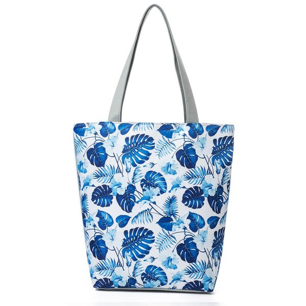 good quality Elegant Blue Floral And Monstera Printed Lady Shoulder Bag Canvas Tote Handbag Women Large Capacity Shopping Bag