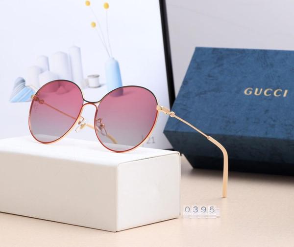 Descolorir lente de vidro óculos de sol das mulheres dos homens do círculo óculos de sol designer de alta qualidade óculos goggle espelho com caixa marrom óculos de sol -0395