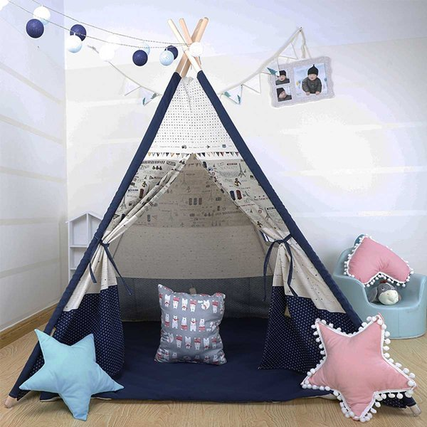 1200x1200x1600mm Large Teepee Tent Kids Canvas Home Pretend Play Outdoor Indoor Kid Christmas Gifts