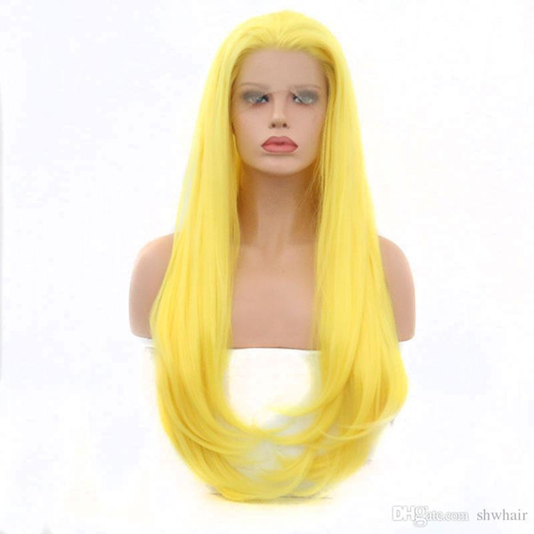 Synthetic Wigs For White Women Yellow Color