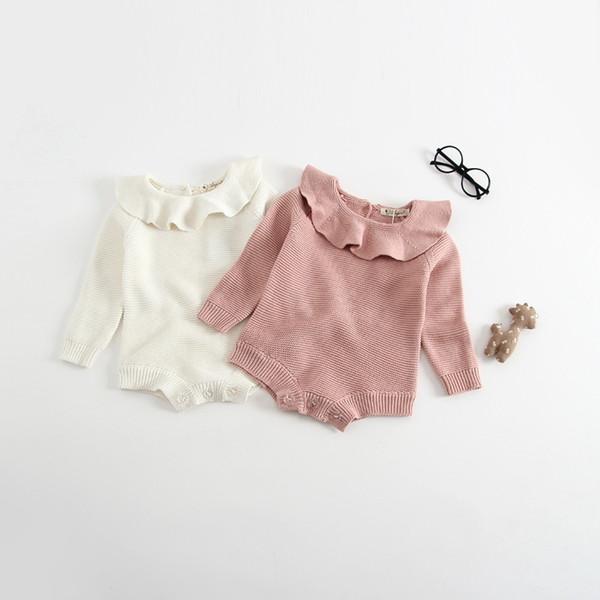 Knitted Baby Girls Romper Cute Lotus Turn Down Collar Sweater Children Kids Baby Girls Rompers Lorita Knitted Girls Rompers