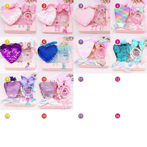 Mermaid sequin Girls Necklaces hair bows hair clips+Necklaces +Bracelet+Earrings+Bags purses+Rings 6pcs/set girls jewelry kids gift A8585