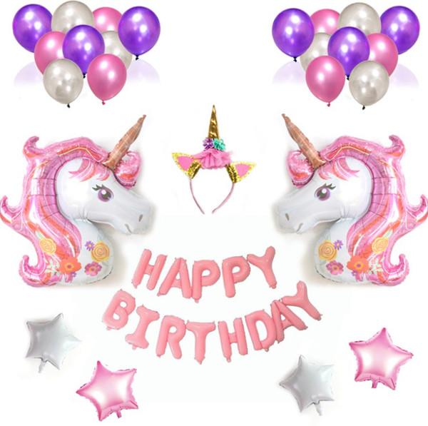 Festa do unicórnio Decoração Aniversário Balões De Látex Tema Unicórnio Lua Cheia Decoração de Aniversário Das Meninas do Partido das Crianças Presentes de Aniversário Feliz