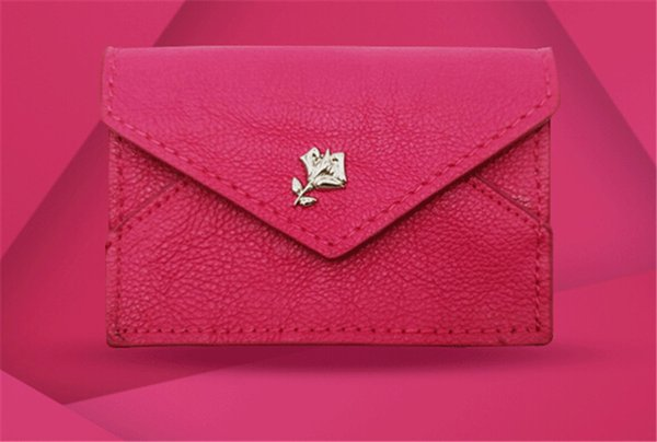 Modern PU Rose Red 7x10cm Cosmetic Bag Card Wallet Cell Phone Pouches Business Fashion For Girl Women with Gift Box