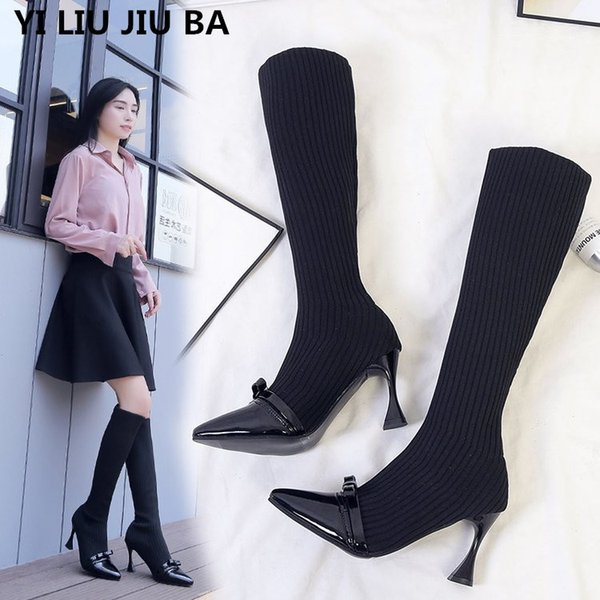 new casual Flock Women Knee-high snow Boots Sexy High Heels Women Shoes Pointed toe Winter Warm Boots mujer Plus Size 35-40 G276