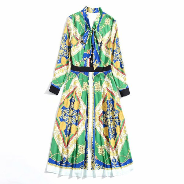 2019 Spring Long Sleeve Crew Neck Print With Ribbon Tie-Bow Lady Mid-Calf One Piece Dress Luxury Runway Dresses H8618775