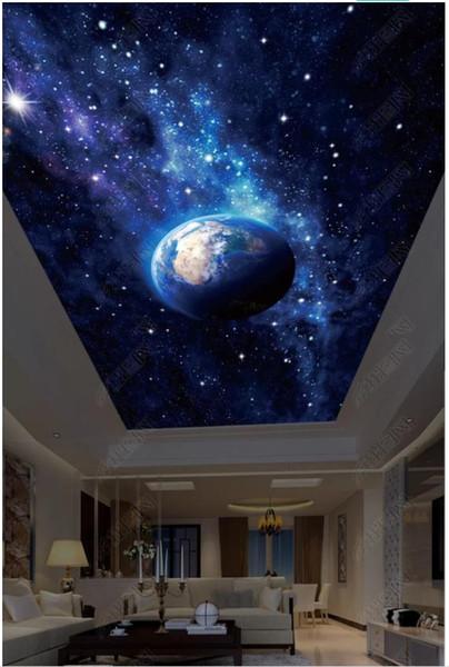 Großhandel Benutzerdefinierte Große 3d Sternenhimmel Fotowand Tapete HD  Große Bild Schöne Sternenhimmel Erde Wohnzimmer Zenith Decke Wandbild ...