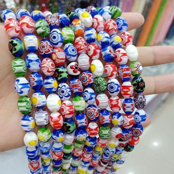 6x8mm 8x12mm forma di riso fatti a mano perline di murano colore della miscela branelli allentati di lampwork per gioielli fai da te fare braccialetto Strand 16 ''