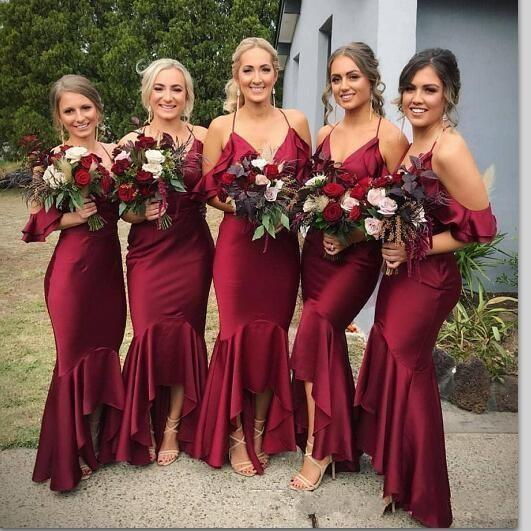 2020 New Style Dark Red Bridesmaid Dress Halter Neck Backless Ruffle High Low Length Plus Size Wedding Guest Dress Maid Of Honor Gowns