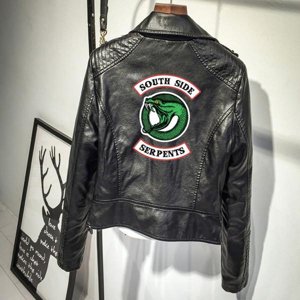 Southside Riverdale Snake Pink / Black PU Leather Jacket Veste en cuir Riverdale Snake Skin Streetwear pour femme