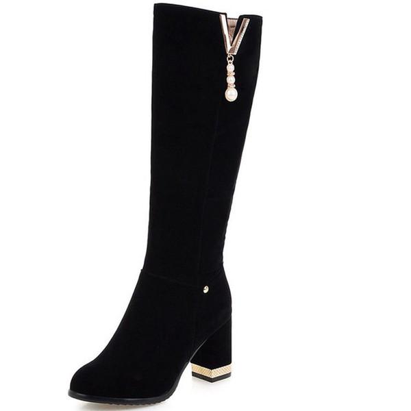 Zarif Çizgili Mat Kadife İngiliz Moda Siyah Süet Ayakkabı Bayan Kalın Topuk Platformu Diz Yüksek Çizmeler