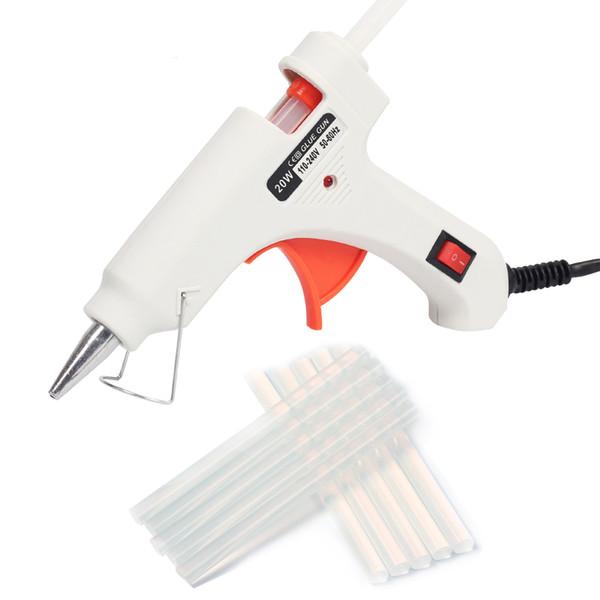 20W Hot Melt Glue Gun EU Plug con 10pcs Stick di colla pistole per silicone elettrico Thermo Gluegun riparazione Calore Temperatura Gun