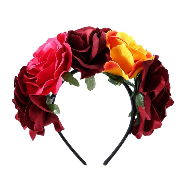 clothing corolla fabric simulation mixed color rose flower halloween christmas wreath headband