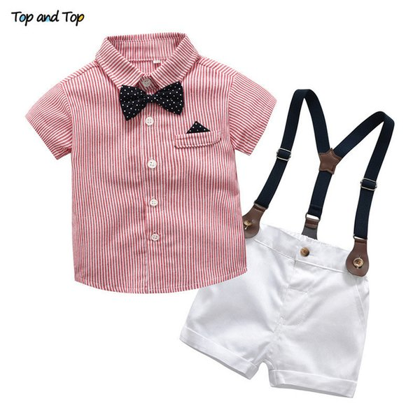 Baby Boy Gentleman Set Summer Suit For Toddler Striped Shirt With Bow Tie+suspenders White Shorts Formal Boys Clothes Q190530