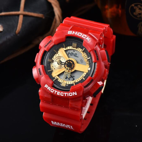 Fashion brand high quality mens watches red color quartz digital movement sports watch military army waterproof watches orologio di lusso