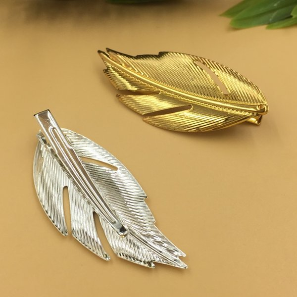 20pcs 35/60*25mm Gold French barrettes leaf feather hair pin Alligator clip hairpin silver hairclip fashion hairwear women diy jewelry