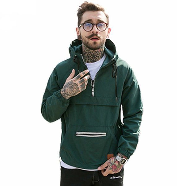 Men Fashion Hooded Jackets Streetwear Windbreaker Hoodie Hip Hop Spring Jacket Casual Active Thin Outwear Coat Ye12