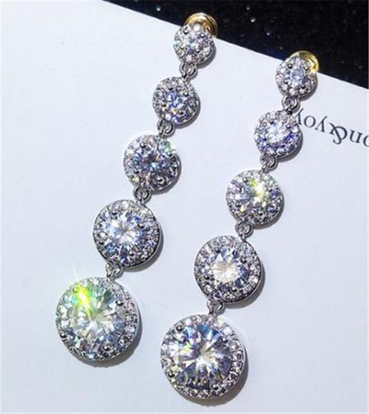 choucong Fashion Long Long Drop earring Diamond 925 Sterling silver Engagement Wedding Dangle Earrings for women jewelry