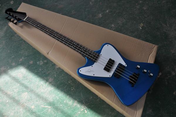 Super Rare Firebird Thunderbird Non Reverse 4 Strings Metallic Blue Electric Bass Guitar White Pickguard, Neck Set In Body, Black Hardware