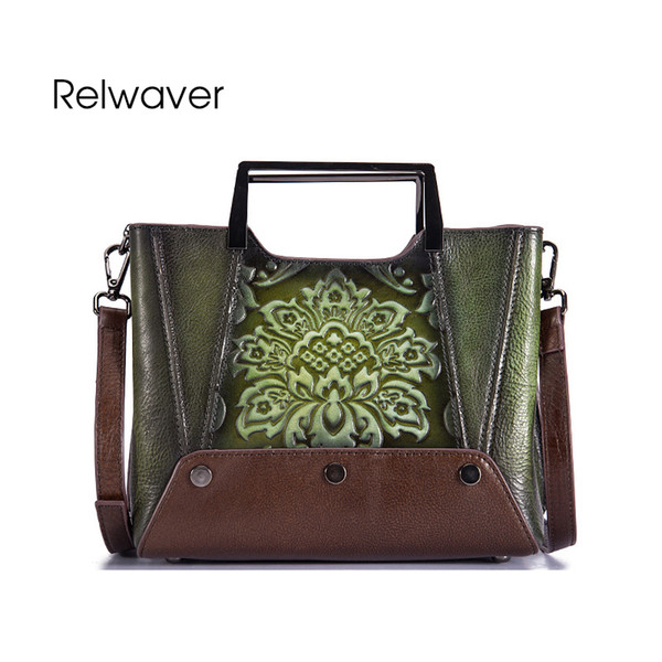 Relwaver real leather shoulder bag small Chinese style women genuine leather handbags vintage floral embossing crossbody bag