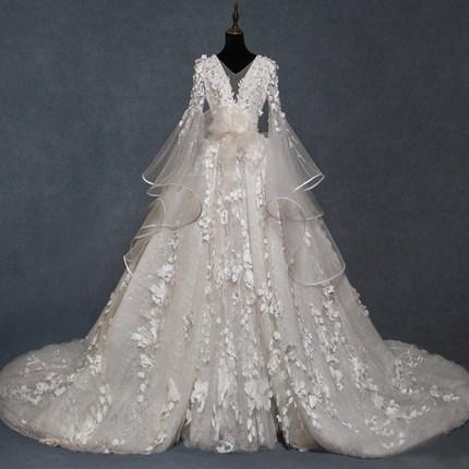 2019 V-образным вырезом кружева бальное платье съемный поезд свадебные платья винтаж арабский колокол рукава свадебные платья часовня поезд свадебные платья дешево